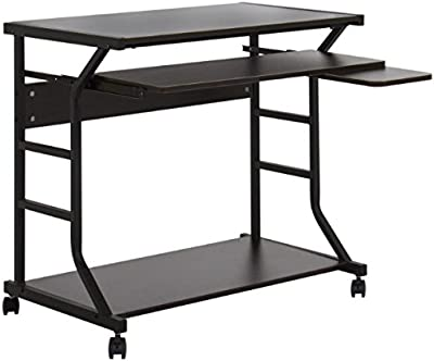 2 Tier Rolling Computer Desk With Pull-Out Keyboard Tray Mouse Platform And Bottom Storage Base Laptop Notebook PC Spacious Workstation Working Writing Table Home Office Space Saving Furniture