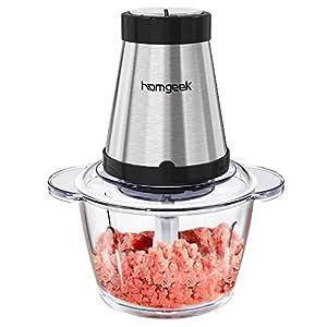 Homgeek Meat Grinder, Food Chopper Processor with 5 Cups & 300-watt, for Mincing, Chopping, Grinding, Blending and Meal Prep