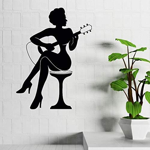 YuanMinglu Bar Dekorieren Frau Spielen Gitarre Silhouette Kunst Stil Wandtattoo Home Gitarre Kunst Musik Vinyl Wandaufkleber Wandbild Schwarz 31x42 cm