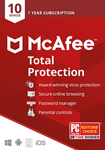 McAfee Total Protection, 10 Device, Antivirus Software, Identity Security, 1 Year Subscription- [Key card] - 2020 Ready