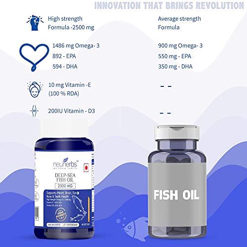 Mystic Neuherbs Deep Sea Omega 3 Fish Oil 2500 Mg (Omega 3 1486 mg; 892 mg EPA; and 594 mg DHA per Serving) : 60 Soft Gel Capsules
