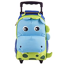 2. Yodo 3-Way Kids Rolling Backpack Dinosaur Suitcase