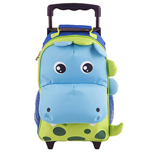 Yodo Zoo 3-Way Kids Suitcase Luggage or Toddler Rolling Backpack with wheels, Medium Dinosaur