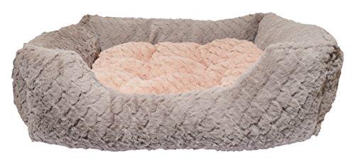 Rosewood 04404 Hundebett Small aus kuschelig weichem Pelz mit Wirbelmuster und Plüsch-Wendekissen innen - Maschinenwäsche, 46x36cm, grau/pink