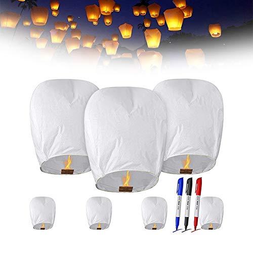 ZHKXBG Farolillos Voladores Chinos Sky Color Blanco De 20 Unidades, Linternas de Papel Farolillo celestiales Chinas, Linterna de Papel Resistente al Fuego,10pcs