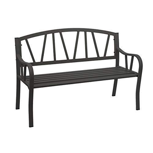 Mendler Gartenbank HWC-F53, Bank Parkbank Sitzbank, 2-Sitzer pulverbeschichteter Stahl ~ schwarz