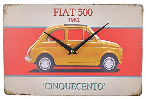 Schmiedegarten Wanduhr Oldtimer – Blechschild mit Abbildung eines italienischen Klassikers – Hängeuhr Metall Uhr Retro Shabby Stil