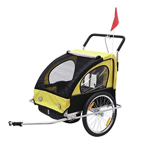HOMCOM 2 in 1 Jogger Kinderanhänger Fahrradanhänger Kinder Radanhänger mit Fahne Rot-Schwarz (Gelb-schwarz)