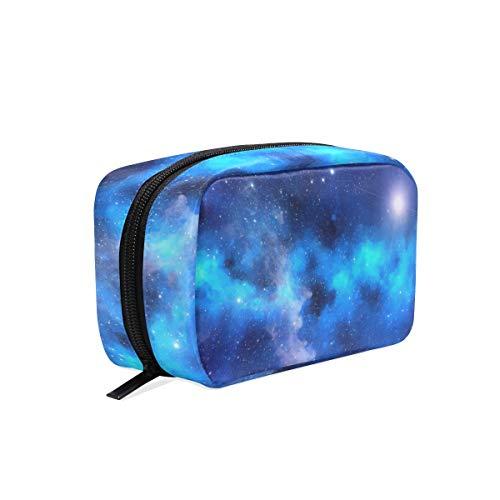 Trousse de maquillage avec fermeture à glissière cosmétique sac d'embrayage étoile brillante ciel sac de rangement de voyage carrée pour femmes dame