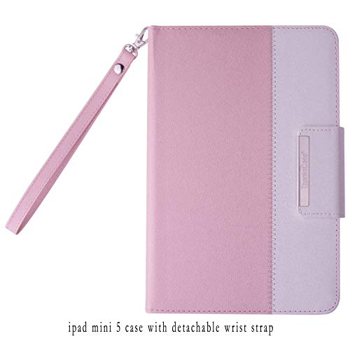 Thankscase Case for iPad Mini 5 7.9' 2019 / iPad Mini 4 2015, Rotating Case Cover with Apple Pencil Holder, Swivel Case Build-in Hand Strap, Wallet Pocket for iPad Mini 5th Generation (Rose Gold B)