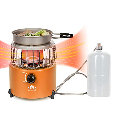 Campy Gear 2 in 1 Portable Propane Heater & Stove with Hose and Pot, Outdoor Camping Gas Stove Camp Tent Heater for Ice Fishing Backpacking Hiking Hunting Survival Emergency (Orange, CG-2000G)