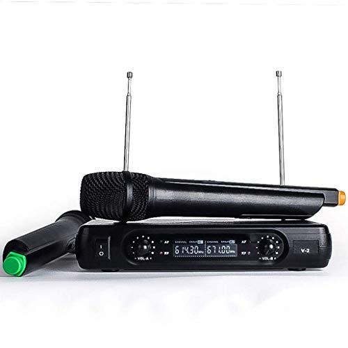 SDKOY draadloos microfoonsysteem, LCD VHF Dual Channel draadloze microfoonset met 2 hand dynamische microfoon ideaal voor kerken, bruiloften, presentaties