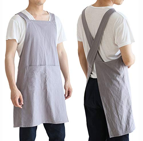 Women Men Cotton/Linen Japanese Style Cross Back Aprons Pinafore Dress with Two Pockets for Cooking, Housewarming, Daily Chores(grey, 24×27.6inch)