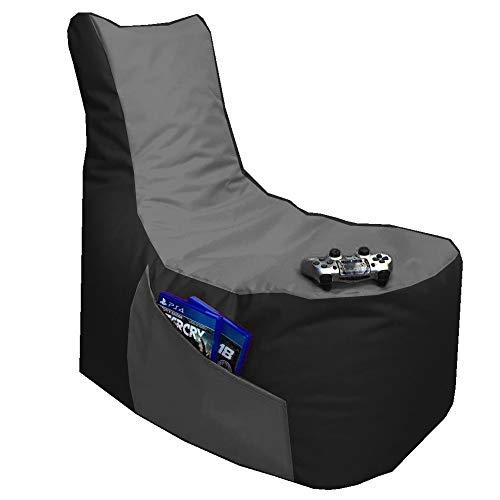 Sitzsack 3er Set Big Gamer Sessel mit EPS Sytropor Füllung - Rückenkissen - Hocker - In & Outdoor Sitzsäcke Sessel Kissen Sofa Sitzkissen Bodenkissen (Big Gamer Sitzsack 2-farbig, Schwarz - Grau)