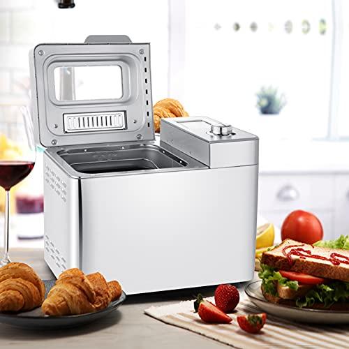 Nictemaw Panificadora Automática, 25 Programas, Capacidad 500g 750g 900g, LCD,Máquina Programable para Hacer Pan, 13H Temporizador de Citas, para Panes, sin Gluten, Bizcochos,Mermeladas y Masas