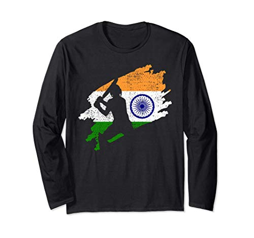 Cricket India Flag Jersey Vintage Gift Long Sleeve T-Shirt