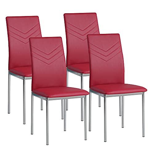 Albatros 2938 Verona Set de 4 sillas de Comedor, Rojo, pie de Cromo, SGS Tested