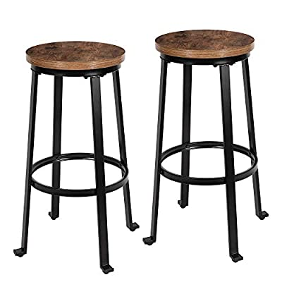 """KOZYSPHERE Bar Stools for Kitchen - 29"""" Pub Height Chairs with Metal Frame - Backless Barstools - Set of 2 - Industrial Rustic Brown"""