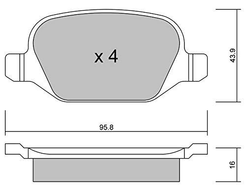 metelligroup 22-0324-1 Bremsbeläge, Made in Italy, Ersatzteile für Autos, ECE R90-zertifiziert, Kupferfrei