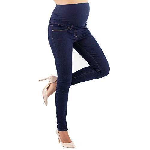Maternity Jeggings Slim Fit, Basic Style, Power Stratch Fabric - Made in Italy (10, Denim)