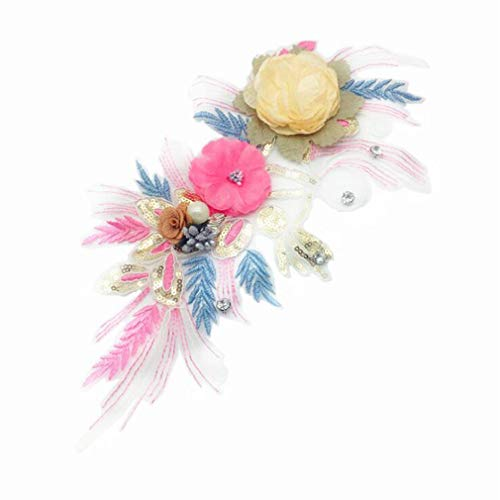 GloryMM Colorful Flowers Embroidered Patch Sticker Three Dimensional Floral Lace Applique Supplies