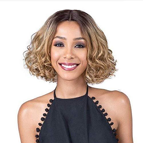 NBVCX Inicio Accesorios Lady Full Wig Peluca de Pelo Corto y Rizado Bob Blonde Dark Roots Pelucas para Mujeres sintéticas
