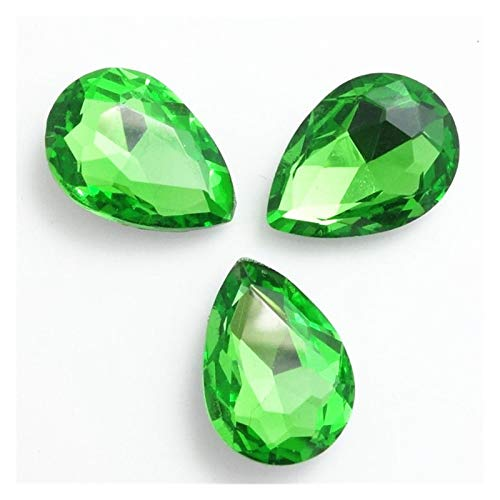 ZHAO Faceted Crystal Glass Rhinestones Teardrop Loose Beads Jewelry 7x10/10x14/13x18/18x25/20x30mm (Color : Grass green, Size : 18x25mm 5pcs)