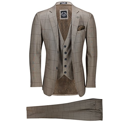 Xposed Männer Large Grid Windowpane prüfen WeinleseBraun 3 Stück Anzug ausgestattet Elegante Hochzeit Arbeit[SUIT-PHIL-8-Braun-54]