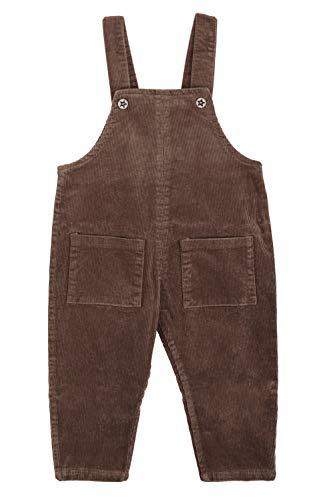 Camilife Baby Jungen Mädchen Kordsamt Latzhose Overall Kord Hose mit Hosenträger für Baby Kleinkind Kinder 1-4 Jahres alt Vintage Retro - Dunkelbraun Größe 95