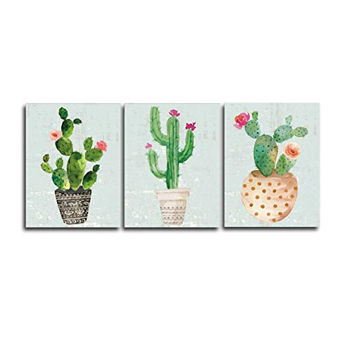 YXBNB 3 Lienzos Pared 3 Piezas nórdico Arte impresión Pastel Acuarela Cactus Lienzo Pintura Cartel botánico Pared Arte Cuadros para Sala decoración