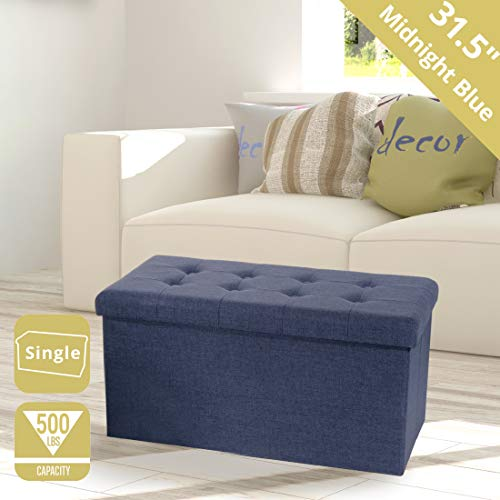 Seville Classics Foldable Tufted Storage Bench Ottoman Midnight Blue