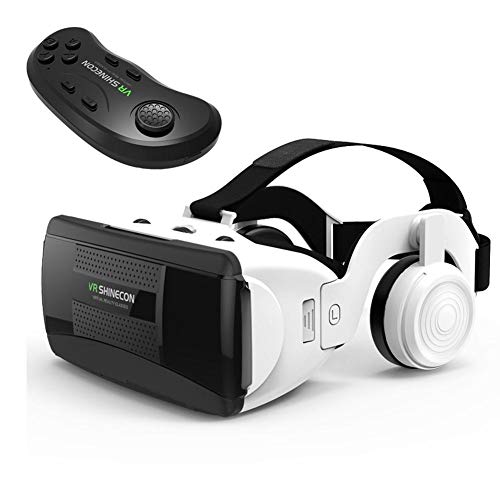 gaeruite VR Headset mit Fernbedienung, Stereo-Kopfhörer, Universal Virtual Reality Brille, HiFi Headset 3D VR Virtual Reality Brille mit Griffset