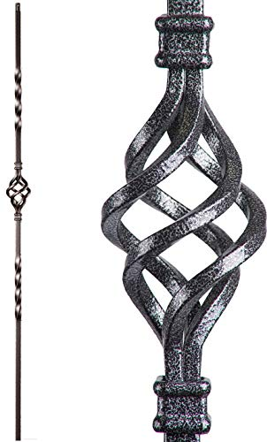 Silver Vein 16.1.3 Single Basket Solid Iron Baluster for Staircase Remodel, Box of 5
