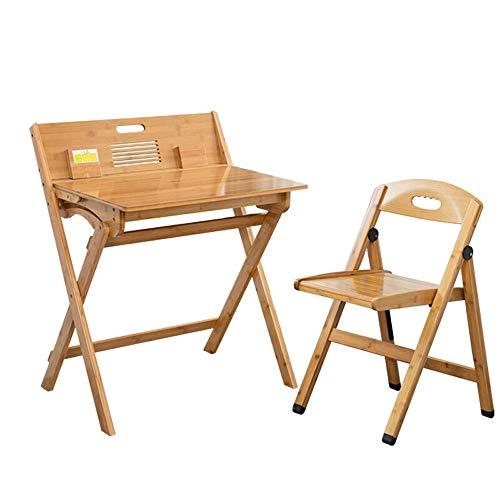 Yamyannie-Home Le Bureau Pliant for Enfants et Chaise étude de l'élève Poste de Travail Informatique Grand Cadeau for Les Filles et Les garçons (Couleur : Beige, Taille : 74x47x90cm)