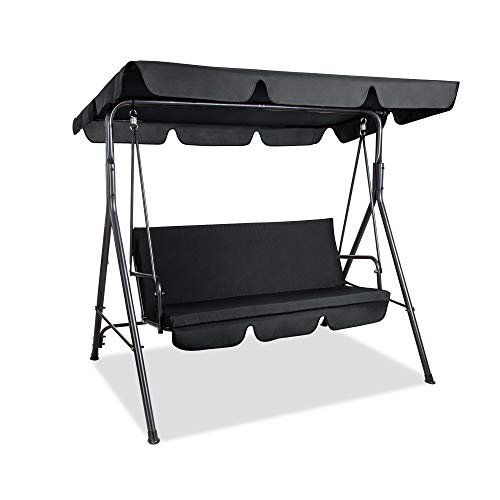 Pamapic Garden 3 Seater Swing Patio Canopy Swing with Removable Cushion and Convertible Canopy, Outdoor Swing Glider for Patio, Garden, Poolside, Balcony (Black)