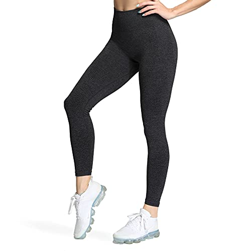 Aoxjox Seamless Workout Leggings for Women High Waisted Vital 2.0 Butt Lifting Tummy Control Yoga Pants (Vital 2.0 Black Marl, Small)