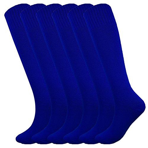 Fitliva Tube Dresses Adult Football Soccer Durable Sport Socks(6Pack-Royal Blue)