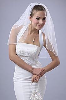 Bridal Veil Diamond (Off) White 1 Tier Short Shoulder Length With Pencil Edge [並行輸入品]