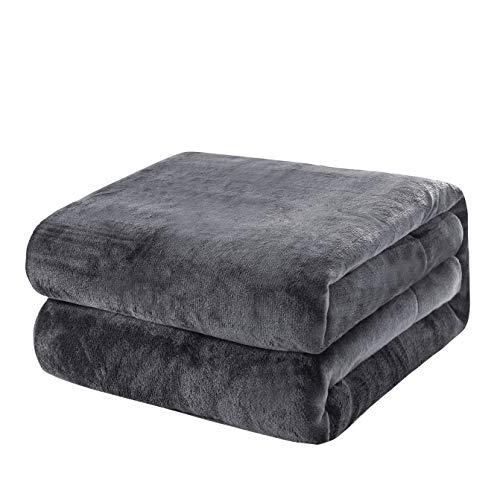 KEPLIN Flanell-Decke, Überwurf, große Tagesdecke (130 x 150 cm) – weich, flauschig, warm, Mikrofaser-Stoff-Design, Bettbezug, Teppich (dunkelgrau, Einzelbett)