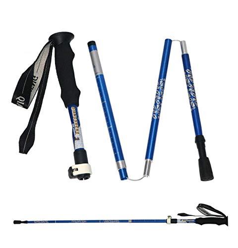 EET Faltbar Wanderstöcke Unisex Skistöcke Walking Stöcke 7075 Aluminium Wanderstock Verstellbar 31-135Cm Und Klemmverschluss Mit Gummipuffer Für Trekking,Blau,One