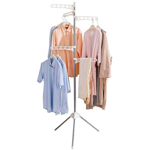 BAOYOUNI Foldable Clothes Drying Rack Collapsible Tripod Coat Hanger Corner Garment Storage Shelf Stand Portable Laundry Organizer Indoor Outdoor with 5 Adjustable Arms - Ivory