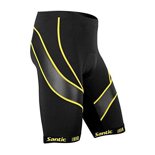 Santic Pantalones Cortos de Ciclismo para la Bicicleta con Badana con Acolchadito,con Almohadilla para Hombres Amarillo S