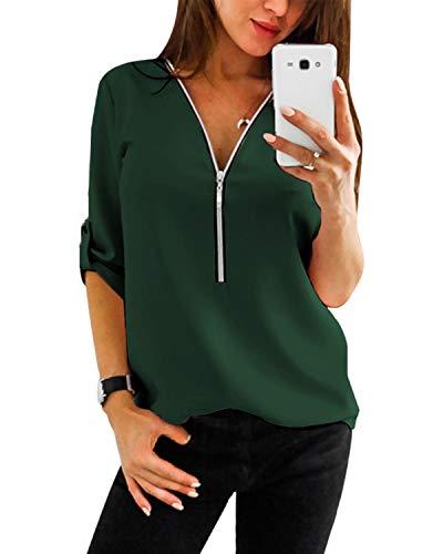YOINS Tunika Damen Oberteile Damen Elegant Herbst Langarmshirts Bluse Damen 3/4 Arm Winter T-Shirt V-Ausschnitt Sexy Tops
