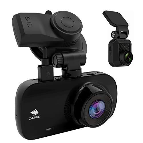 Cámara de salpicadero doble, Z-Edge Z3D de 2,7 pulgadas, pantalla dual 1920 x 1080P Dash Cam frontal y trasera (2560 x 1440P frontal único) con GPS, soporte de 256 GB máximo, WDR, Super visión nocturna, modo de estacionamiento, sensor G