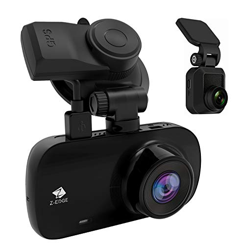 Dual Dash Cam, Z-Edge Z3D 2.7' Screen Dual 1920 x 1080P Dash Cam Front and Rear (2560x1440P Single Front) with GPS, Support 256GB max, WDR, Super Night Vision, Parking Mode, G-Sensor