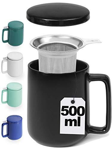 Teetasse mit Sieb und Deckel - Keramik Schwarz - Hält Lange warm - 500ml XXL Groß - Spülmaschinenfest