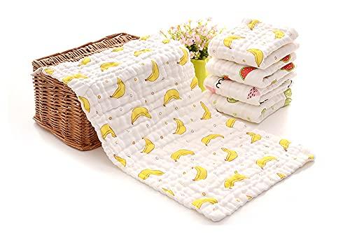 AdorabFruit 25 * 48cm 6-Capas Muslin Baby Waldcloths Absorbente Algodón Suave Bebé Mano Toalla Lavable Newborn Boys and Girls Face Ducha Toallas (Color : Banana)