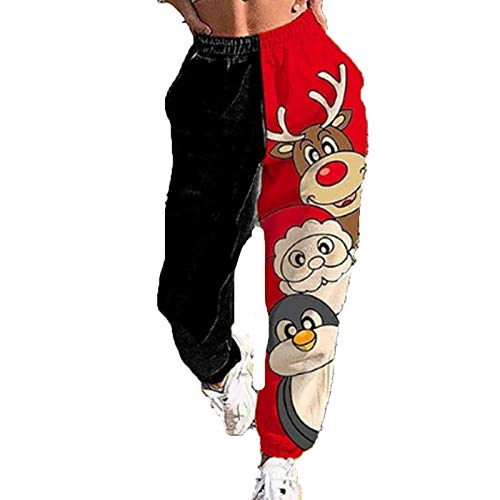 Women's Christmas Patchwork Cinch Bottom Sweatpants with Pockets High Waist Snowflake Letters Printed Casual Jogger Pants (Black Red, M)