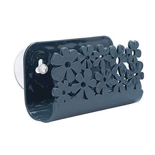 ZYUEER Porte éponge de Cuisine avec Ventouse - Parfait pour Ranger Les éponges, Les brosses, Le Savon, etc. - Organisateur lavabo avec systeème-Grille Bleu Rose et Navy (Navy)