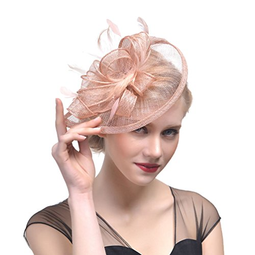 Yujeet Mujeres Florales Forma Sombreros Y Tocados De Plumas Moda Transparente Hecho A Mano Completo De La Novia Headwear Para El Cóctel De La Boda Como la Imagen1 One Size